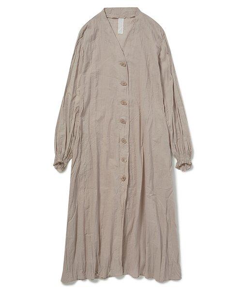 洗いざらしノーカラーシャツドレス