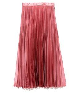 サテンカラープリーツスカート