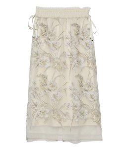 フラワー刺繍チュールタイトスカート