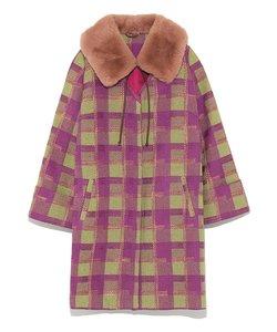 エコファー衿付きチェック柄コート