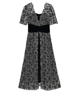 ウエストクロスラメレースドレス