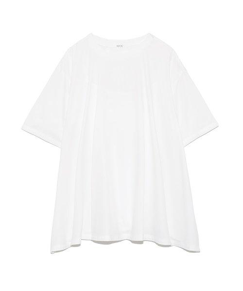 Tシャツライク布帛ヘムフレアトップス