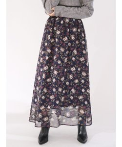 フラワープリントラメスカート