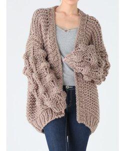 hand knitting ボールニットカーデ