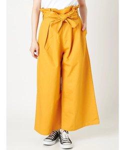 【WOMEN】綿ツイルウエストリボンハイウエストワイドパンツ