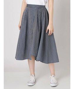 裾ヘムストライプフレアースカート