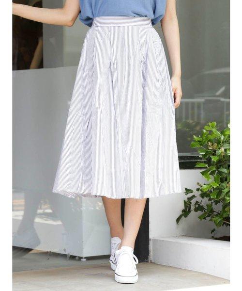 タックボリュームストライプスカート
