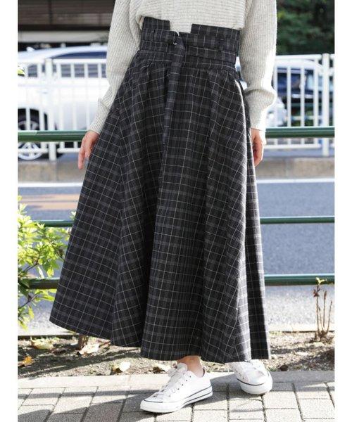 チェックベルト付フレアスカート