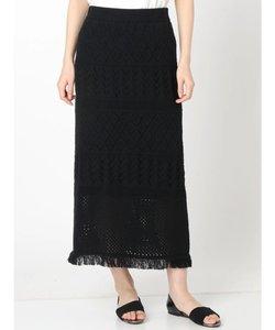 フリンジ柄編みニットスカート