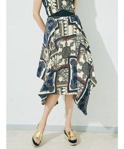 スカーフ柄アシメスカート