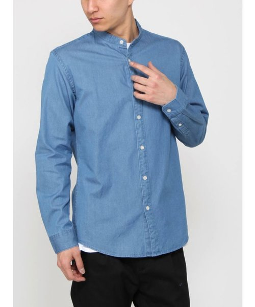 デニムバンドカラーシャツ