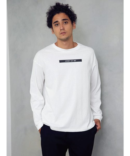 ARMYプリント長袖Tシャツ
