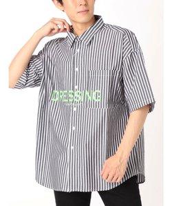 ロゴプリントストライプBigシャツ