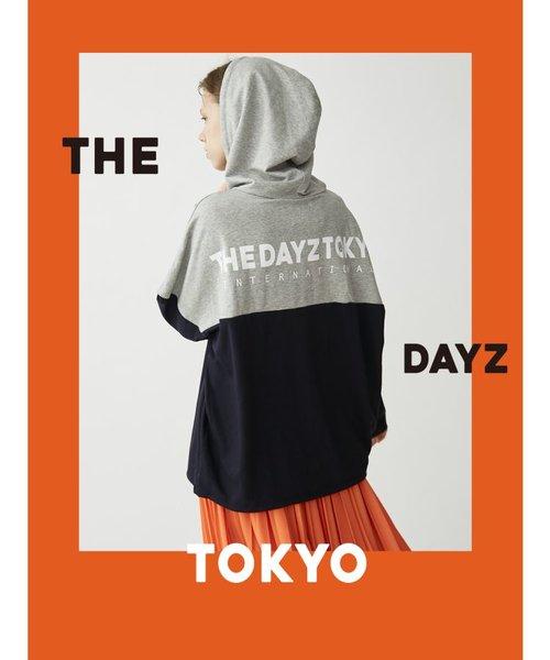 【THE DAYZ TOKYO】ユニセックス 配色ロゴZIPパーカー