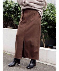 ベルト付きフロントスリットナロースカート
