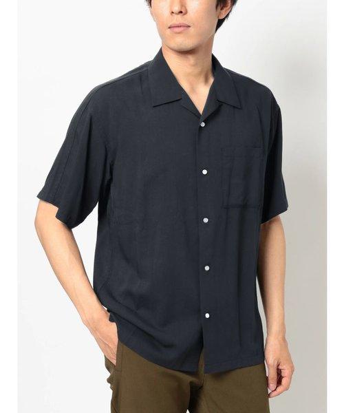 スプリットラグラン半袖オープンカラーシャツ