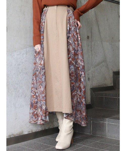 ペイズリーパターンコラージュスカート