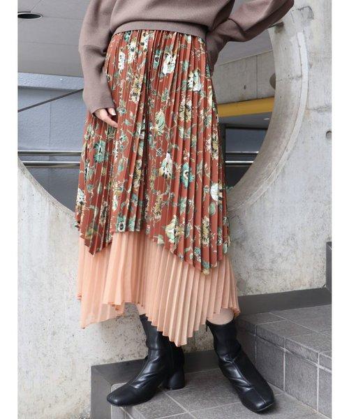 オーキッドフラワープリーツスカート