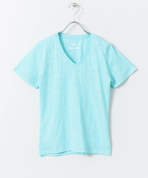 USAcotton スラブVネックTシャツ