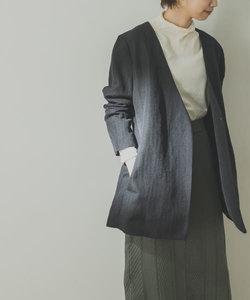 ノーカラーヘリンボンジャケット