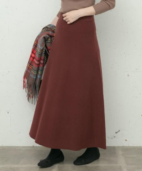 ハーフミラノフレアニットスカート