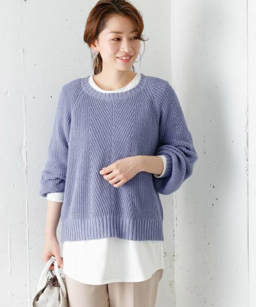柄編み畦ニットプルオーバー