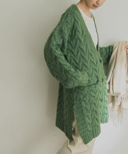 AGNESS Cable Vee Cardigan