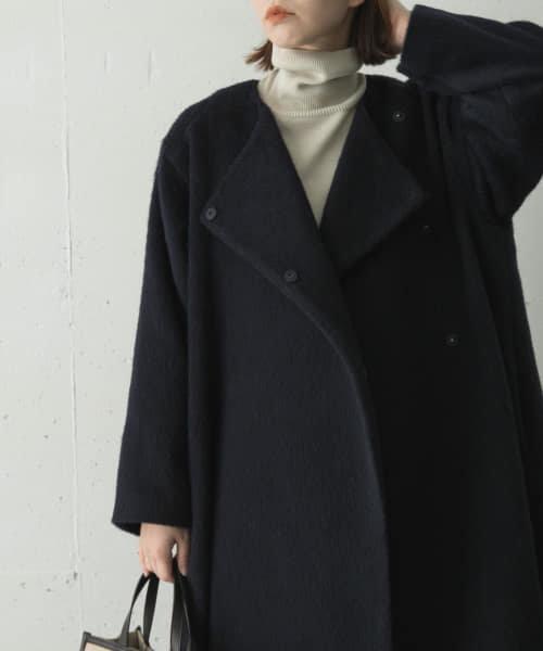 ノーカラーシャギーコート
