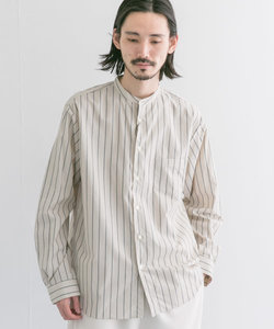 MANUAL ALPHABET BAND COLLAR STRIPE SHIRTS