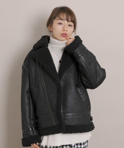 ALPHA INDUSTRIES W FAKE MOUTON RIDERS JACKET