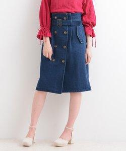 トレンチ風Iラインスカート