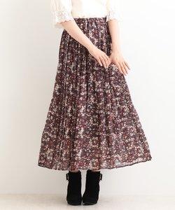 柄プリーツマキシスカート