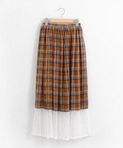 *レース切り替えチェック柄スカート