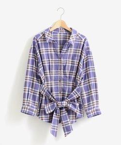 ウエストリボンチェックシャツ