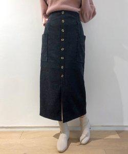フロントボタンポケ付ナロースカート