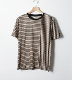 LYOCELL BORDER SWITCH T / リヨセルボーダー切り替えTシャツ