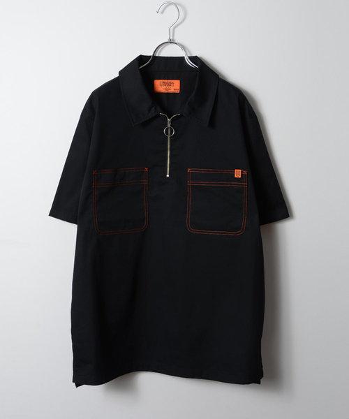 モルガンオム (MORGAN HOMME) ユニバーサルオーバーオールステッチジップシャツ/