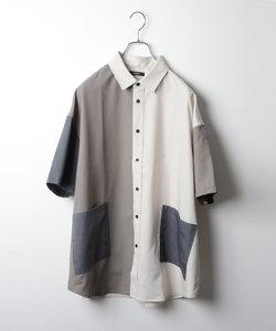 切り替え配色ルーズシルエット半袖シャツ