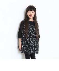 【限定】花柄シフォン切替8分袖チュニック