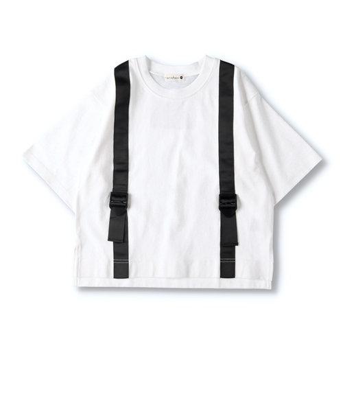 サスペンダー付き風Tシャツ
