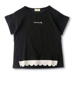 【プチプラ】前裾レース半袖Tシャツ