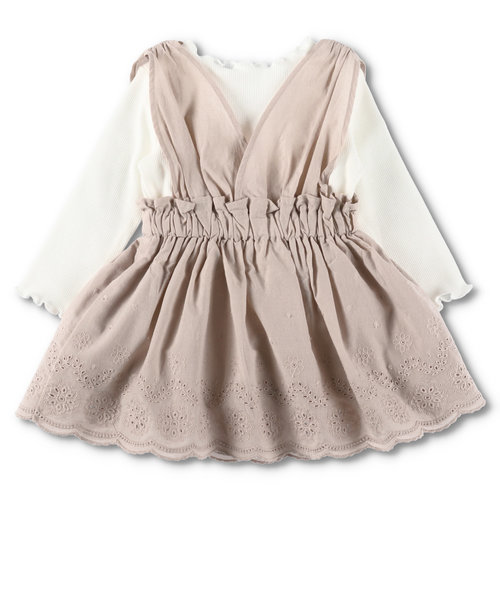【ペア】テレコインナー+裾レースジャンパースカート