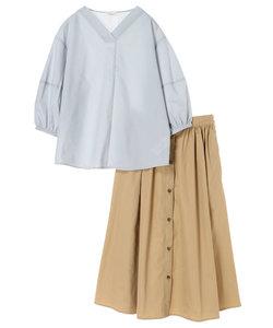 SET2点ダイヤモンドブラウス+フロント釦スカート