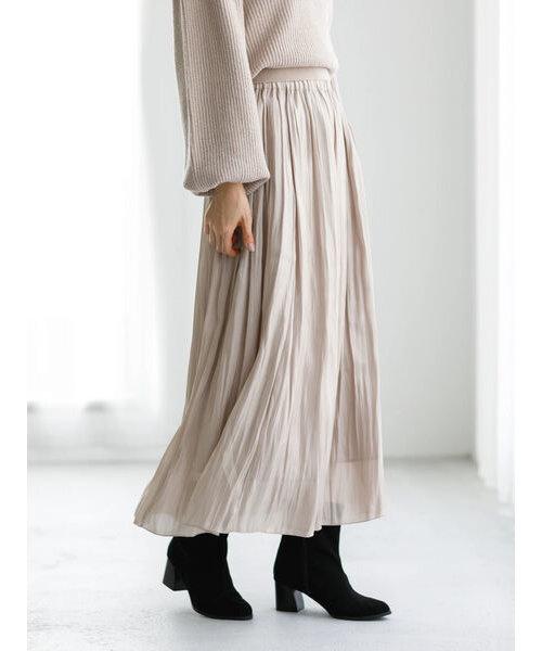 シャイニーサテンギャザースカート