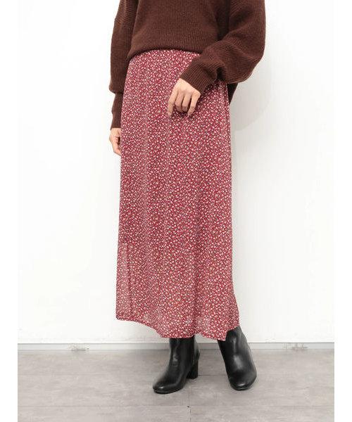 【WEB限定】小花柄ロングスカート