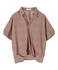 裾タックドロプショルダー5分袖シャツ