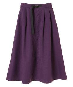 ・ベルト付きタックギャザーロングスカート
