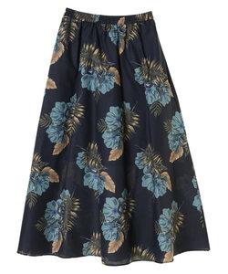 大花柄ロングギャザースカート