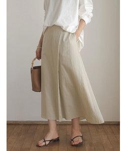 リネンブレンドラップ風フレアスカート