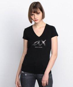 【AXアルマーニ エクスチェンジ】ラメ&ビジューaxロゴ Tシャツ